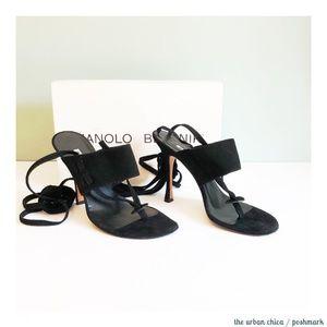 MANOLO BLAHNIK Strappy Suede Thong Stiletto Sandal